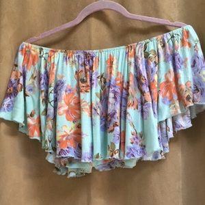 Joyce Leslie Soft Flowy Floral Crop Top Size M
